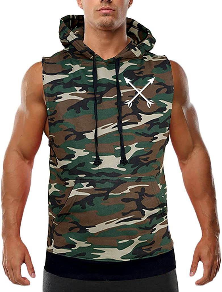 Mens Crossed Arrows V287 Camo Sleeveless Vest Hoodie Black