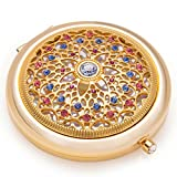 Unique Gifts For Women/24k Gold Electroplate Makeup Mirror by Jinvun: Ultimate Luxury Round Vanity Mirror w/Diamonds/Sturdy Travel Purse Compact Cosmetic Mirror/Folding Magnifying Beauty Mirror