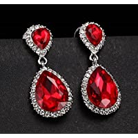 khamchanot Women Fashion 925 Silver Red Ruby Drop Dangle Earrings Stud Wedding Jewelry