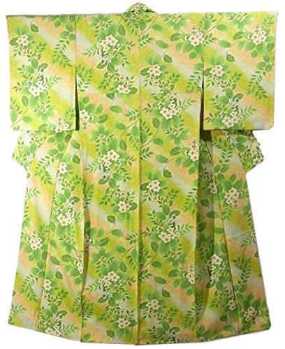 リサイクル 着物 小紋 正絹 袷 斜め縞に花模様 裄63.5cm 身丈160cm