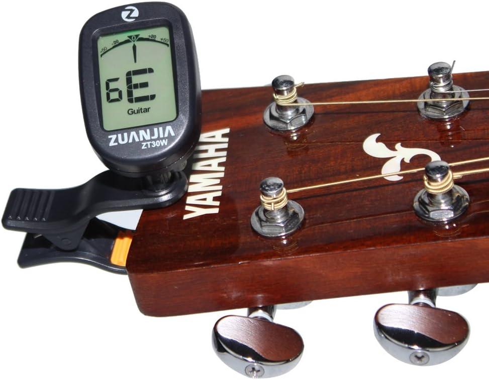 360 gradi digitale rotante Tuner elettronico con 3 plettri Guitar Tuner Chromatic Digital LCD Clip on Tuner per basso elettrico chitarra acustica Violino Ukulele