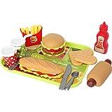 Buyger Pretend Food Set with Tray Hamburger Hotdog Fries Toys for kid