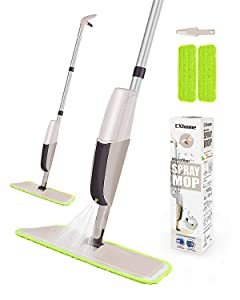 Hardwood Spray Mop for Floor Cleaning, CXhome Microfiber Mop for Tile Floors, Wet Dry Mop with Sprayer and 2 Mop Pads, 1 Refillable Bottle