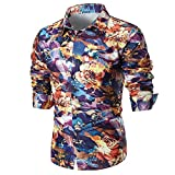 Wintialy Personality Men's Summer Casual Slim Long Sleeve Printed Shirt Top Blouse Purple
