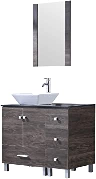 Amazon Com Sliverylake 36 Modern Bathroom Vanity Ceramic Vessel Square Sink Combo Pvc Cover Cabinet Countertop Sink Bowl With Mirror Faucet Drain Set New Kitchen Dining