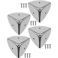 FUXXER® - 4 esquinas de acero inoxidable redondeadas, protección de metal para cajas,…