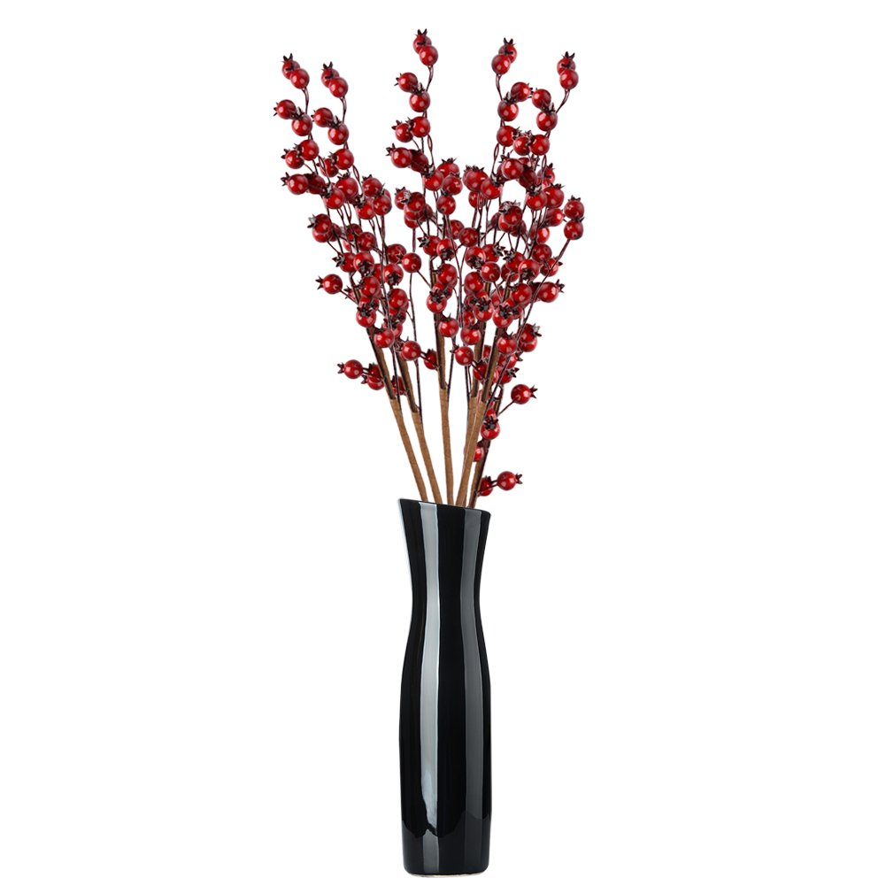 Jycra bacche rosse artificiali , 10 pezzi di Natale rosso bacche Fruit Berry Holly ramo di fiori artificiali per casa da festa di nozze fai da te verde pianta albero di Natale Decorazioni e bricolage –  22.83 Inche