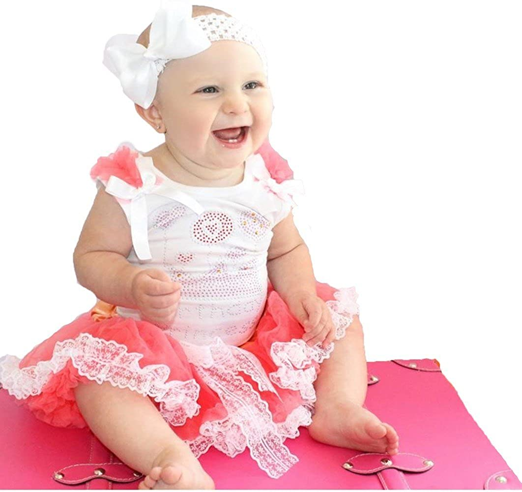 Birthday Princess Baby Dress White Top Coral Lace Baby Skirt Outfit Set 3-12m