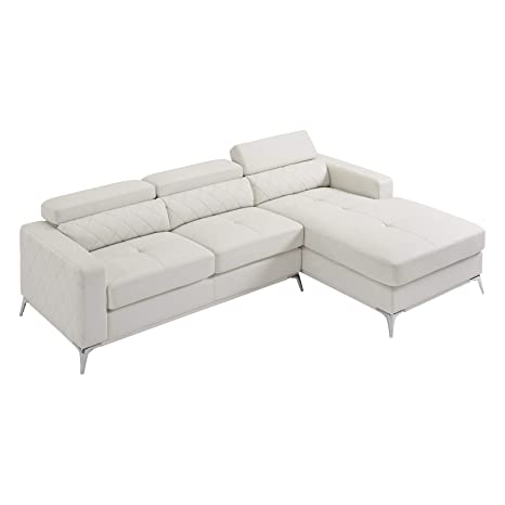 Sectional Sofa with Right Facing Chaise 2 Pieces Set Faux Leather Recliner  (White) 2019 Updated Model by Bliss Brands