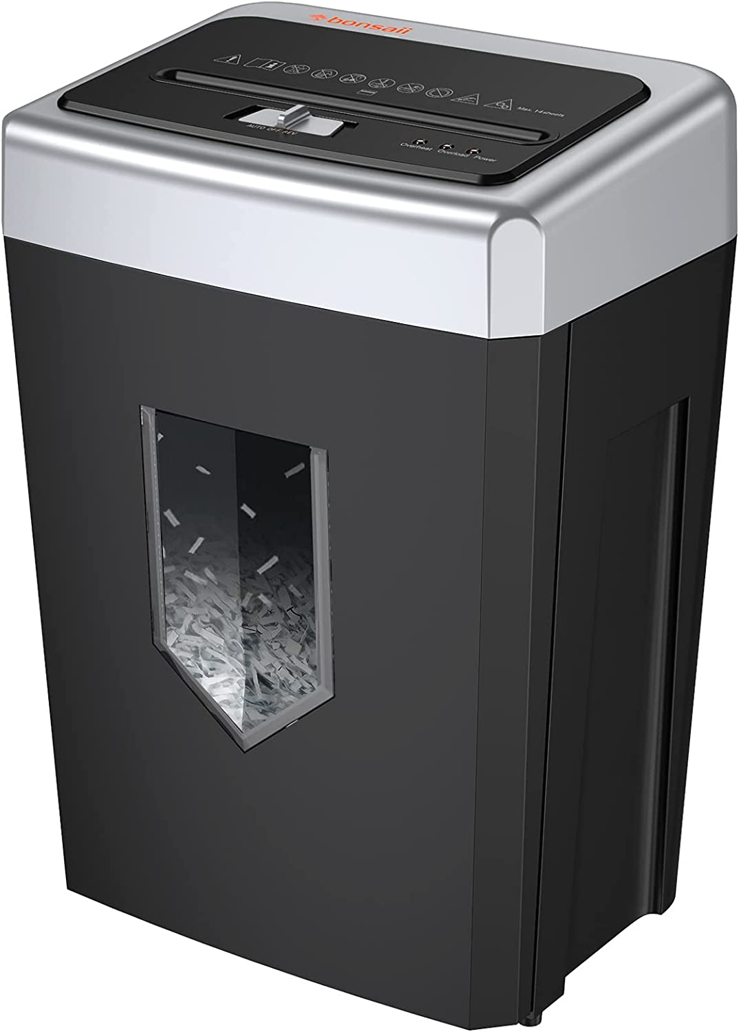 Paper Shredder for Home Office, Bonsaii 14-Sheet 30-Minute Cross-Cut Heavy Duty Shredder for Home Office Use with 4.8 Gallons Pullout Basket & 4 Casters, Quiet Anti-Jam Credit Card/Staples Shredder