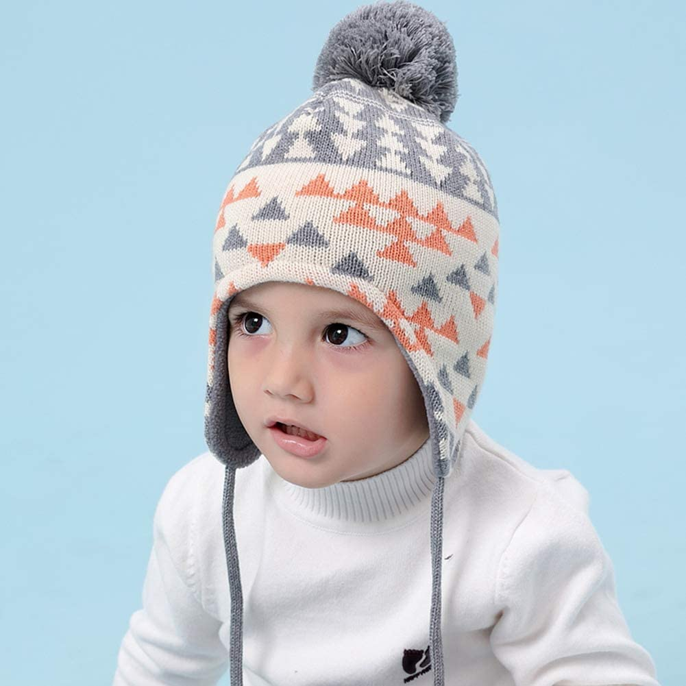 Happy Cherry Baby Set Bonnet Pompom Mittens Toddler Boy Girl Winter Hat with Ear Flap Warm Gift Christmas Scarf