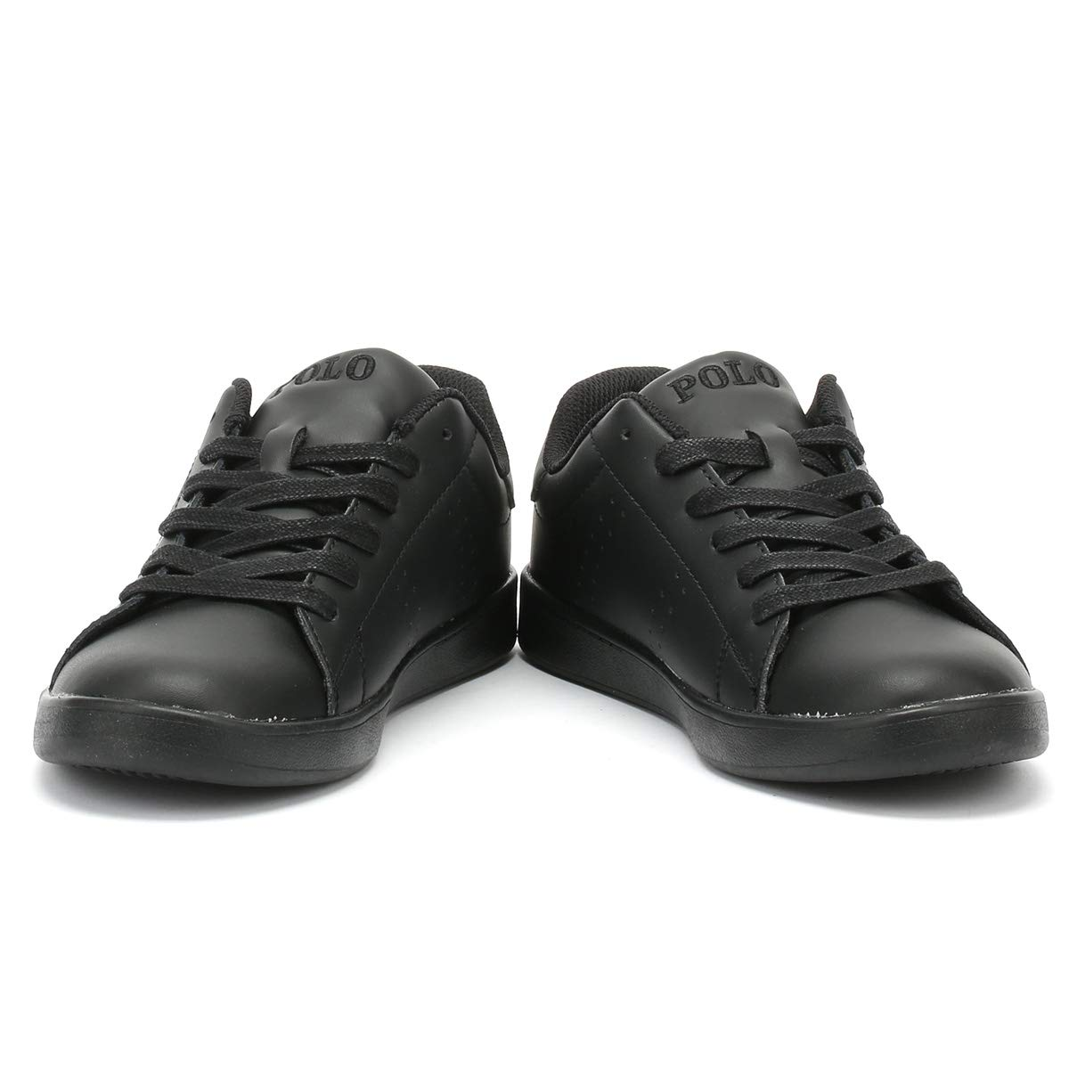 Polo Ralph Lauren Quilton Black Leather Youth Sneakers Shoes