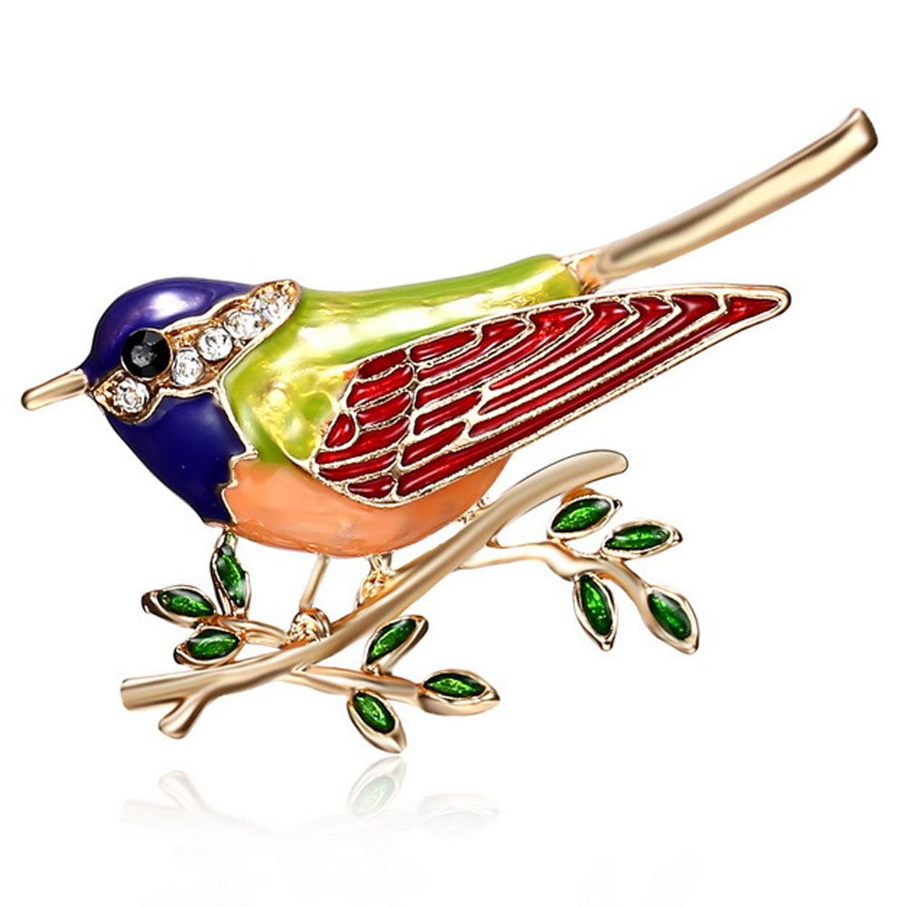 Samidy Women Fashion Shiny Charms Colorful Bird Brooch for Clothes Bags Backpacks (Red)