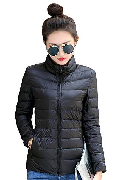 80b10c1b94f Fouriding Women s Duck Down Jacket Short Style Stand Collar Lightweight  Coat Quilted Winter Puffer Packable Ultralight Jackets Body Warmers for  Women Ladies ...