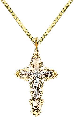 Precious Stars 14k Two-Tone Gold Jesus Crucifix Cross Pendant with 1-mm Box Chain