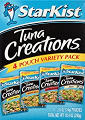 Can't decide which flavor of StarKist Tuna Creations variety you want? Then fret no more! This StarKist Tuna Creations Variety Pack of 4 - 2.6 ounce tuna pouches includes wild caught tuna lightly seasoned in the following varieties: Lemon Pep...