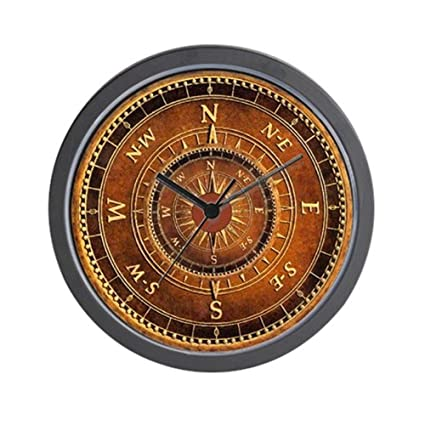 Amazon.com: YiiHaanBuy Compass Rose in Brown - Unique Decorative 10in Wall Clock.: Home & Kitchen