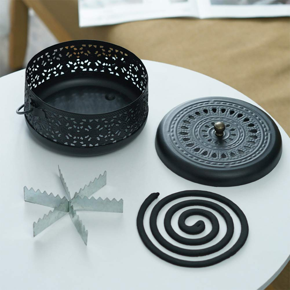 Whthteey Classical Design Mosquito Coil Holder with Handle Round Iron Mosquito Incense Burner for Home (Black) by Whthteey (Image #4)