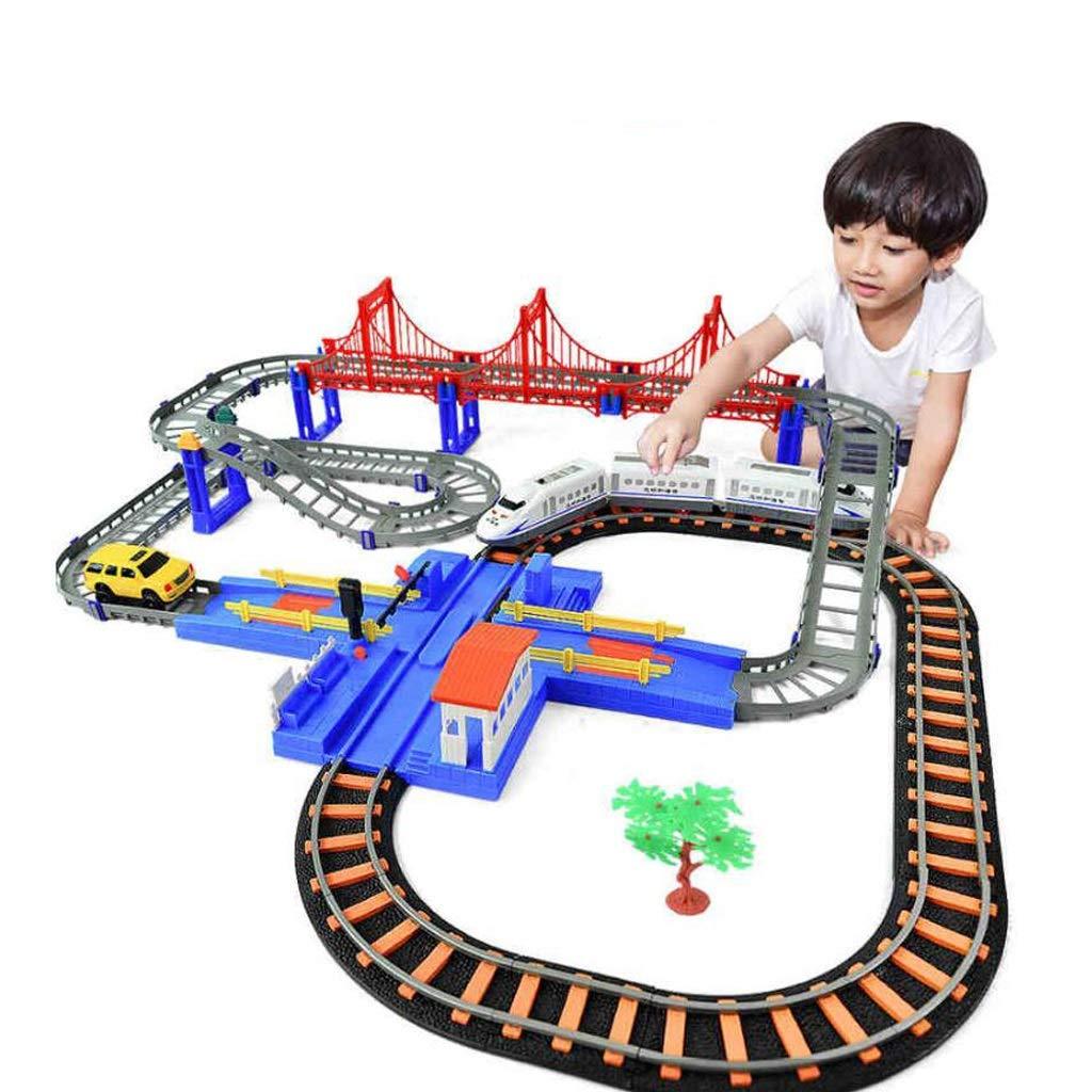 edición limitada Juguete de riel eléctrico, juego de juguete de tren tren tren pequeño, juguete para niños de Rail Car Racing, número de armonía, niños de tren para niños de 3-12 años (1 automóvil, 1 tren, 2 autos, 8 ba  Mejor precio