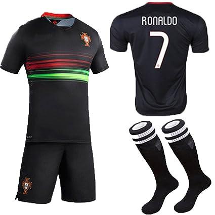 2295554a48c 2015 Portugal Cristiano Ronaldo  7 Away Football Soccer Kids Jersey Short  Socks Set Youth Sizes