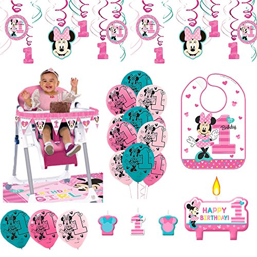 Minnie Mouse First Birthday Fun To Be One 1st Birthday Party Supplies Decoration Pack Includes: Hanging Swirl Decorations, Baby Bib, Birthday Candles, Balloons, and a High Chair Decoration Kit!