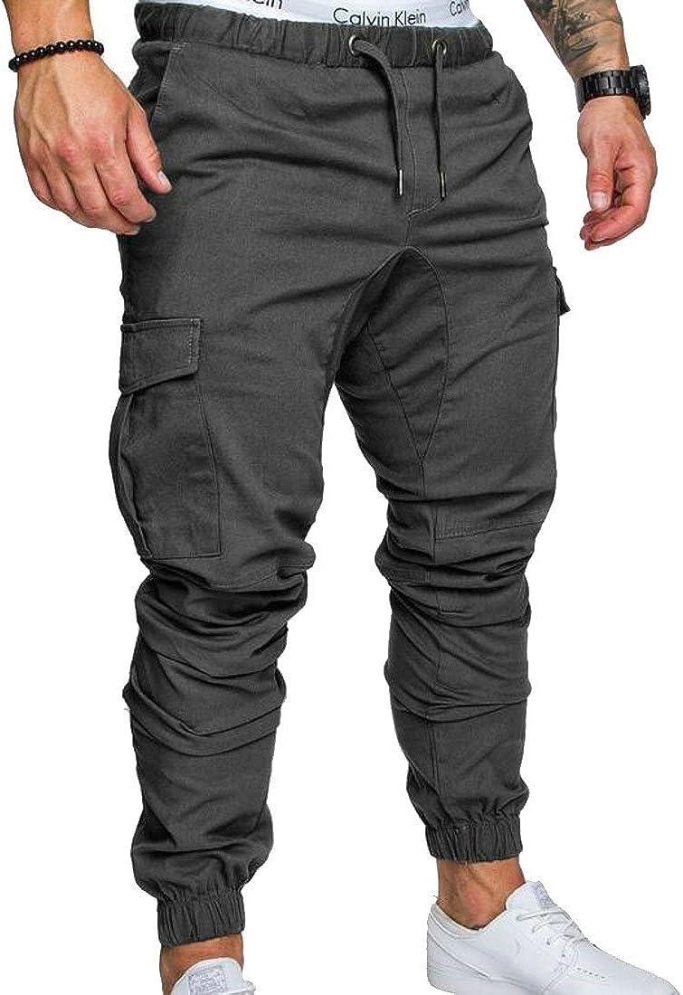Joe Wenko Mens Elastic Waist Harem Drawstring Stretch Comfy Pocket Jogger Pants