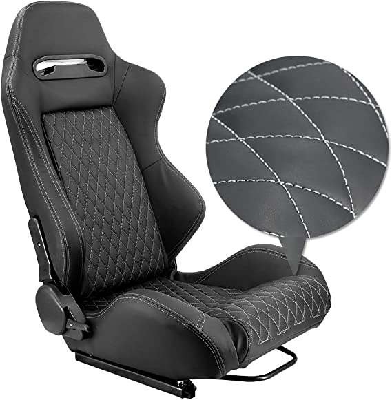 Universal Fit for Most Vehicles OKLEAD Sports Style Racing Seats PVC Leather Reclinable Bucket Seat with Slider Set of 2