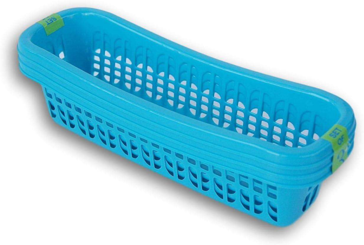 Round Edge Slim Plastic Storage Trays Pencil Baskets - Set of 3 (Light Blue)