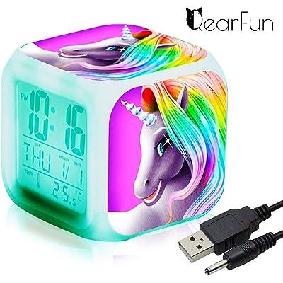 Unicornio Despertador Infantil Relojes de alarma digitales para niñas, LED de noche que brilla intensamente Reloj LCD con luz para niños Despertar Reloj de cabecera (1)