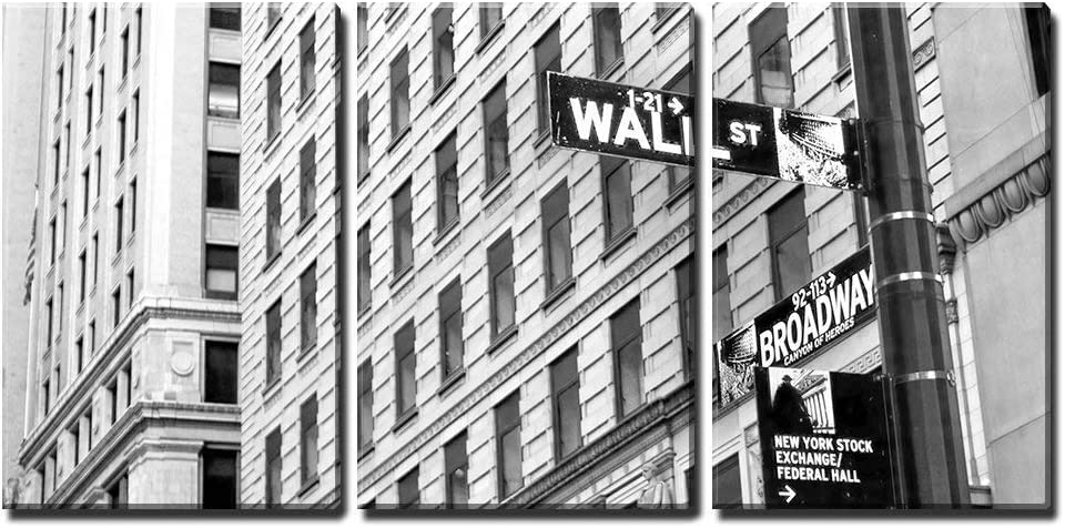 """wall26 - 3 Piece Canvas Wall Art - Sign on Wall Street in New York City - Modern Home Art Stretched and Framed Ready to Hang - 24""""x36""""x3 Panels"""