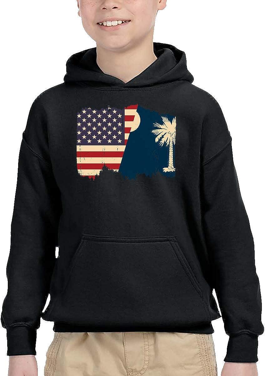 Distressed South Carolina American Flag Children Boys Girls Long Sleeve Sweatshirts Pocket Hoodie 2-6T