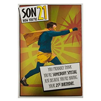Hallmark 21st Birthday Card For Son Superhero