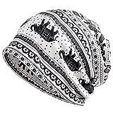 Kuyou Women's Multifunction Elephant pattern Hat Skull Cap scarf (White)