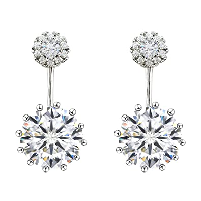 53e327281 Amazon.com: SELOVO Wedding Front Back Ear Jacket Stud Earrings Double Use Cubic  Zirconia Silver Tone: Jewelry