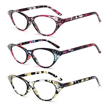 c6bbcae856 Amazon.com  AMILLET 3 Pack Cateye Reading Glasses with Spring Hinge ...