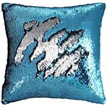 TRLYC Decorative Mermaid Pillow Reversible Sequins Pillow Cases Throw Cushion Cover No Pillow Insert Turquoise and Silver 16 X 16-Inch(40x40cm)