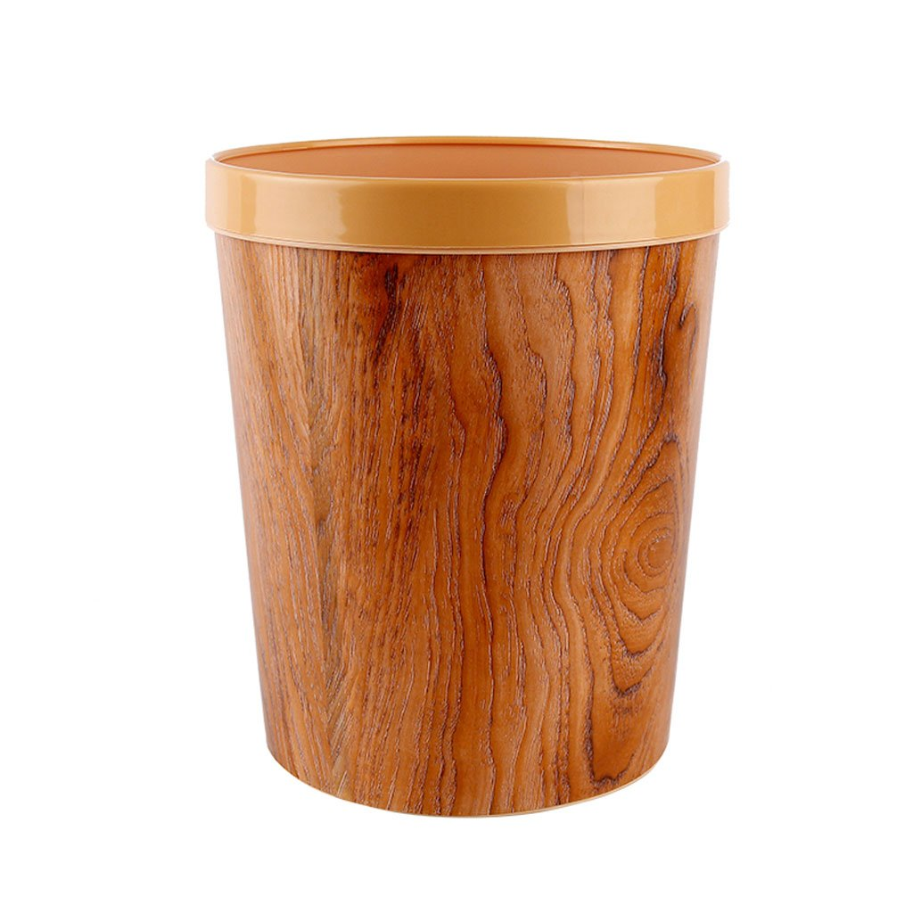 Durable Garbage Can, Waste Basket for Bathroom, Bedroom, Office and More, 12 Liter Capacity with Stylish Barn Wood Exterior Finish, Uncovered Household Round Trash Can With Pressure Ring by Shi xiang shop (Image #1)