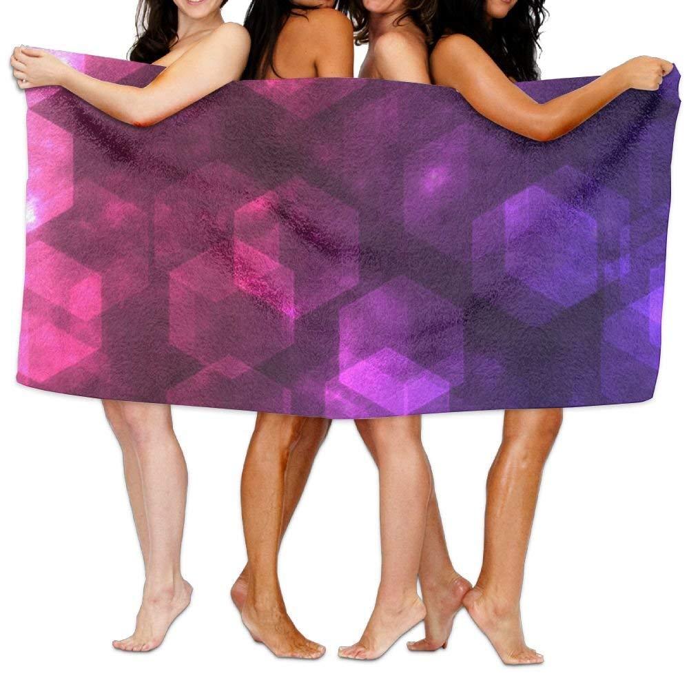 longkouishilong Serviettes Plage Draps de Bain Bath Towel Soft Big Beach Towel 31'x 51' Unique Soft Purple Geometry Abstract Pattern Design