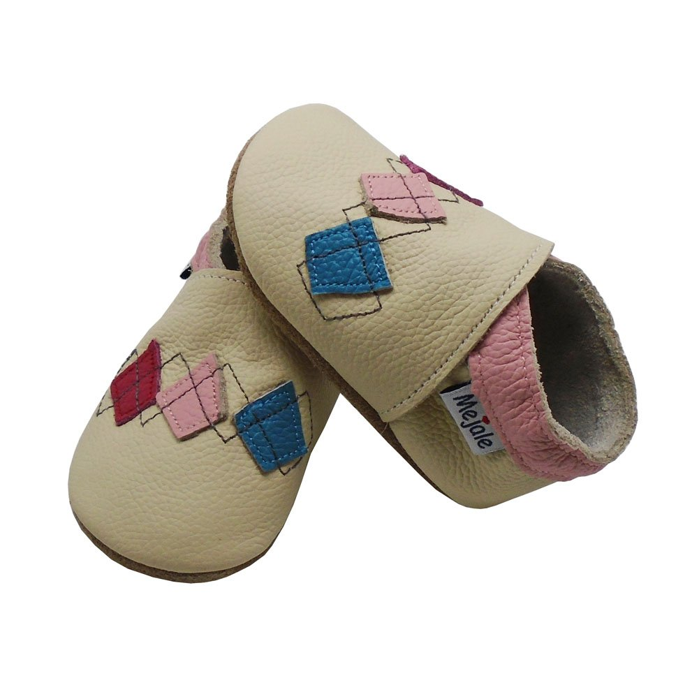 Mejale Soft Sole Leather Baby Crib Shoes Infant Toddler Prewalkers Moccasins 0-3 Years