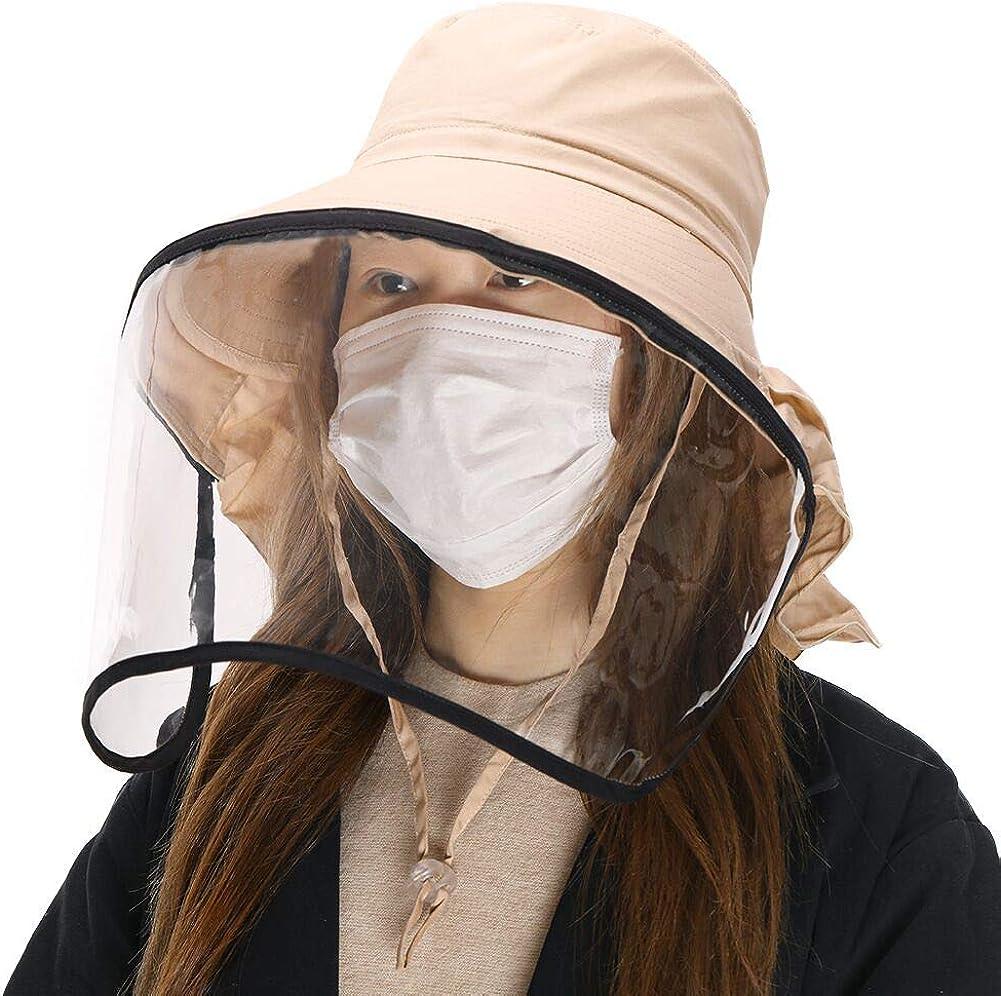 Comhats UPF 50 Sombrero de Sol para Mujer Plegable Pamelas de algod/ón con Correa para la Barbilla Ajustable