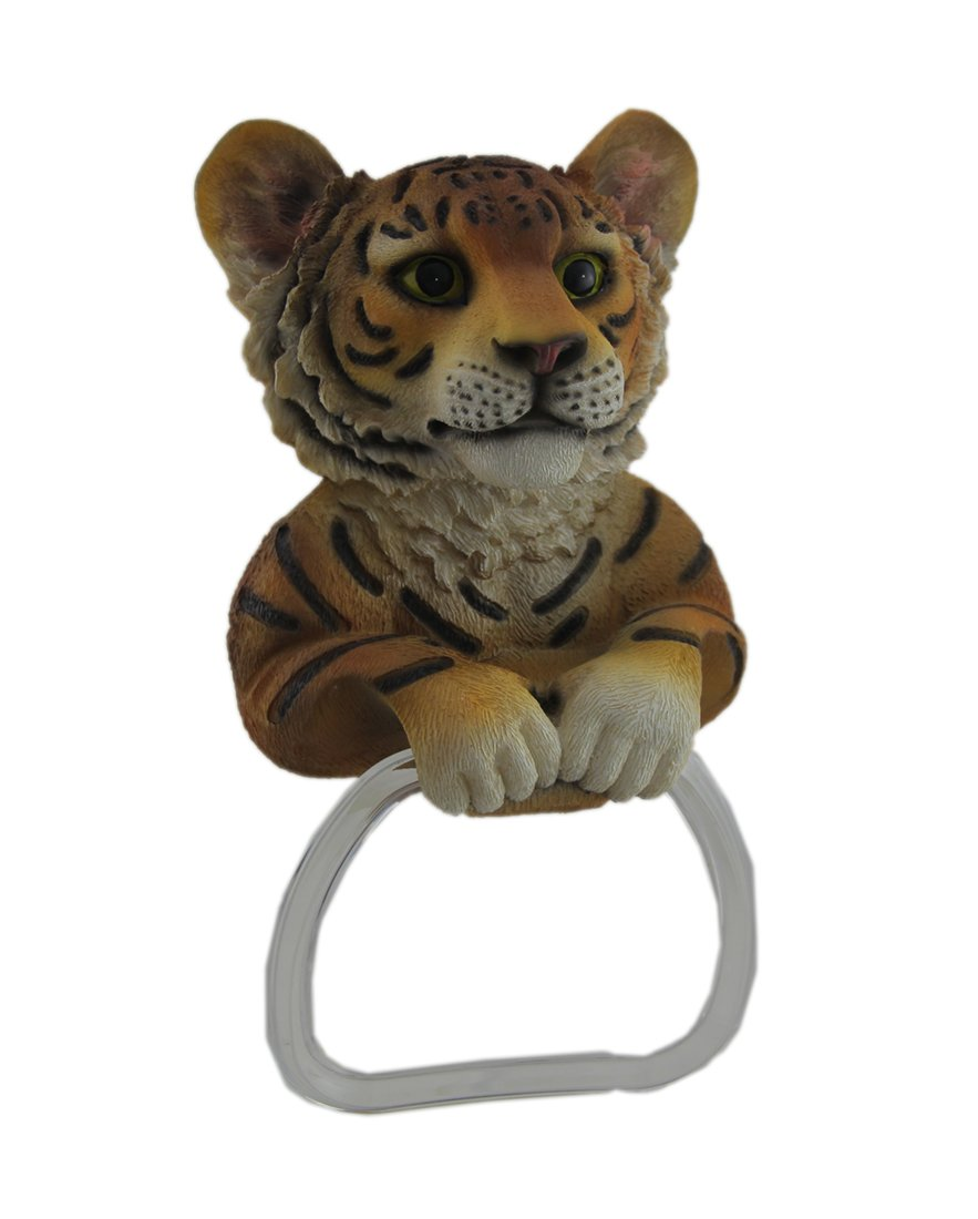 Zeckos Resin Towel Rings Adorable Bengal Tiger Wall Mounted Towel Holder 6 X 11 X 3.5 Inches Orange by Zeckos