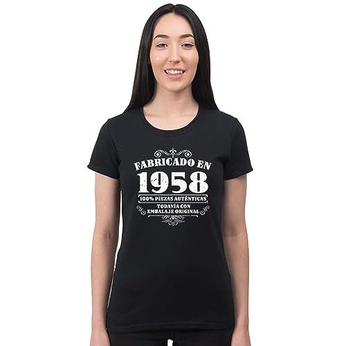 Bang Tidy Clothing Camiseta de Mujer para Regalo de 60 cumpleaños Manufactured 1958 en Negro Talla L