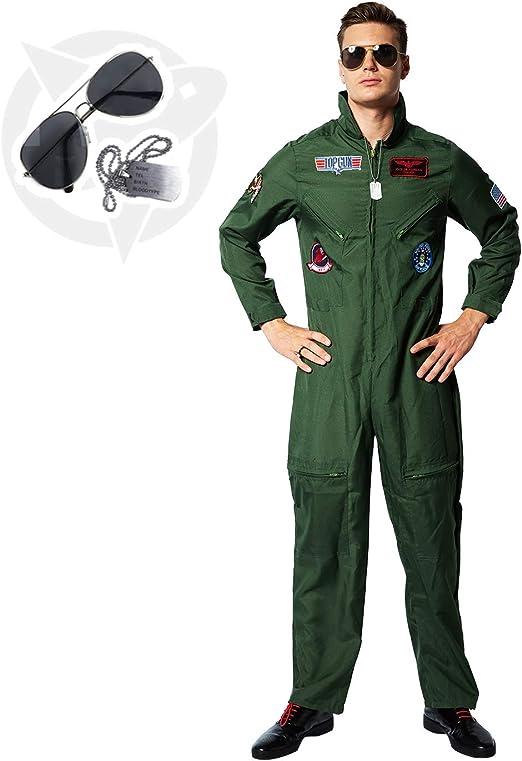 EraSpooky Disfraz de Piloto de Hombre Disfraz de Aviador Disfraz ...