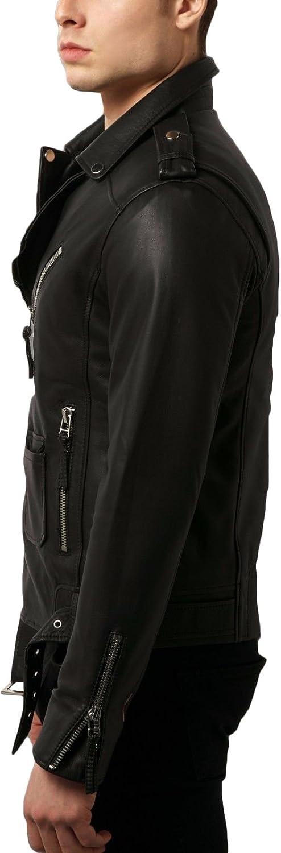 New Men Designer Genuine Lambskin Soft Biker Leather Jacket T1097