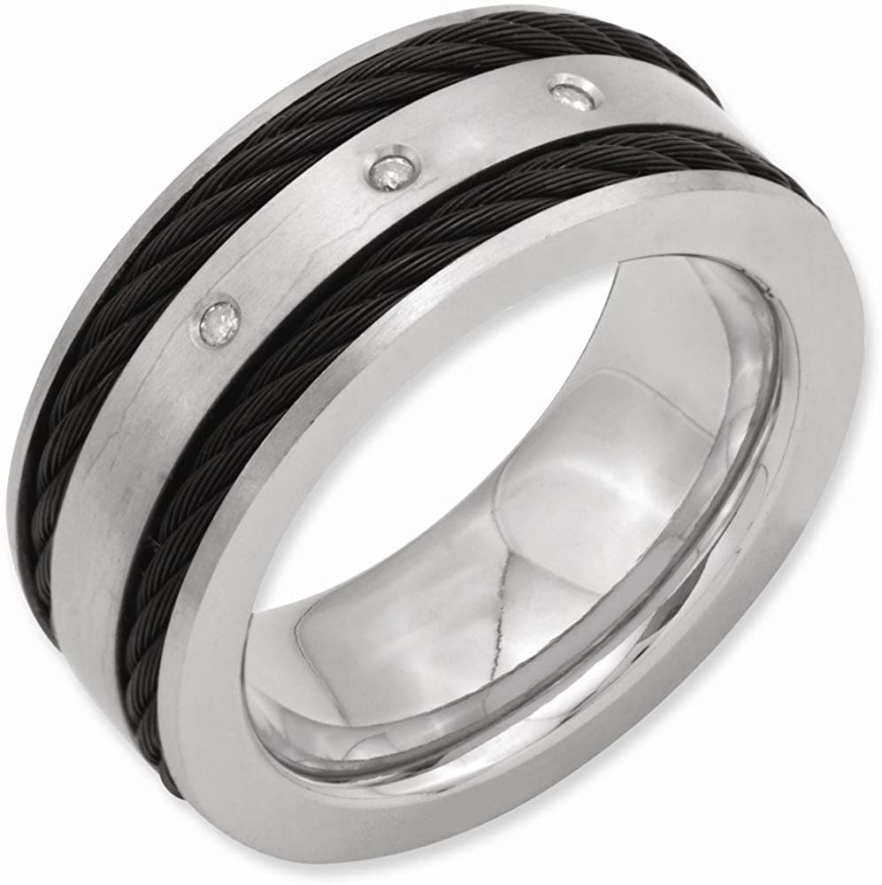 Titanium Black IP-Plated Cable and Diamonds 10mm Brushed Band Box