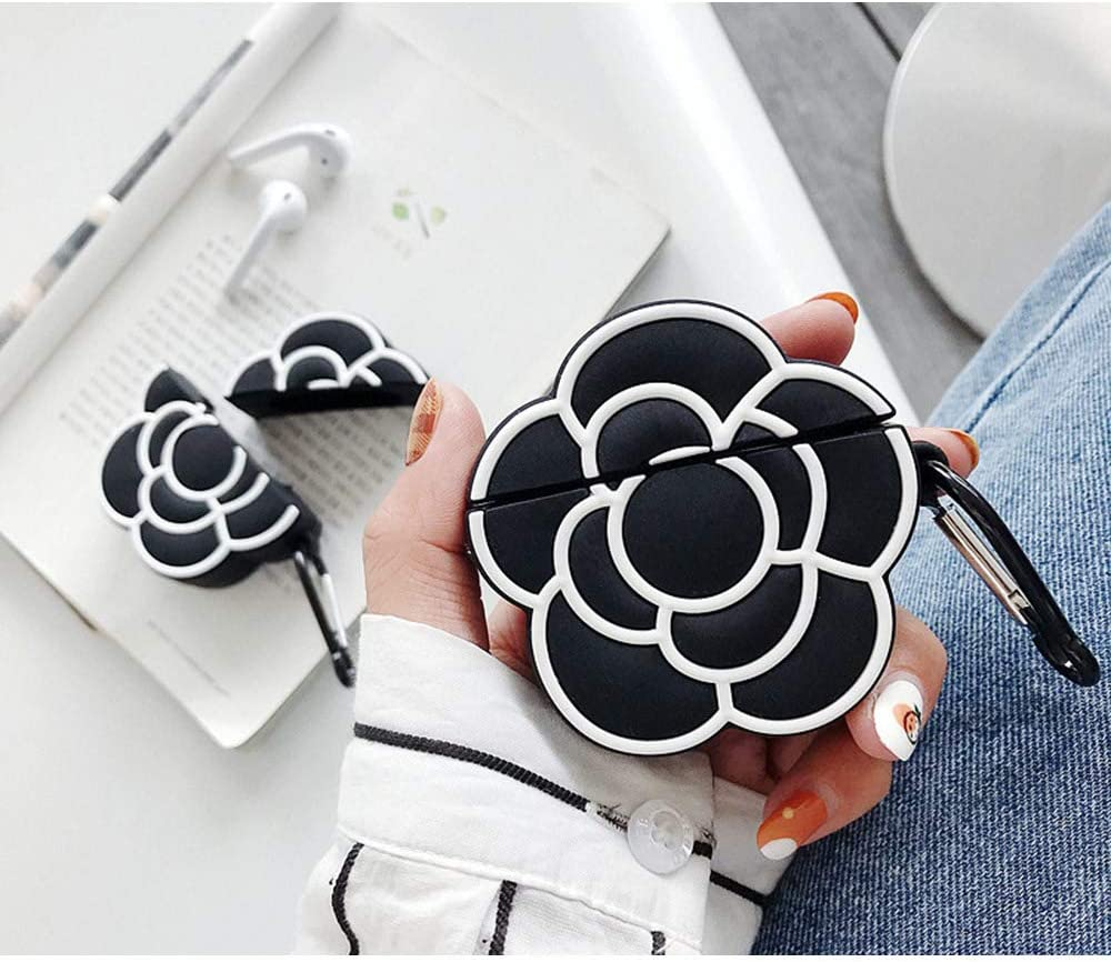 ONGHSD for Airpods Case Cover,Cute 3D Camellia Flower Silicone Cover for Apple Airpods 1 2 Case Earphone Cover for Airpod Floral Pattern with Keychain Gift for Girls Kids or Woman