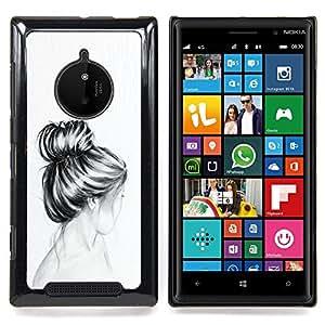Stuss Case / Funda Carcasa protectora - Busto Cabello Cabeza Lápiz Dibujo Sad - Nokia Lumia 830