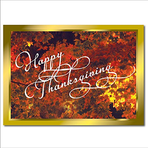 Thanksgiving card business amazon thanksgiving greeting card th1101 the verse inside expresses best wishes and appreciation for personal or business use gold foil lined envelopes reheart Choice Image