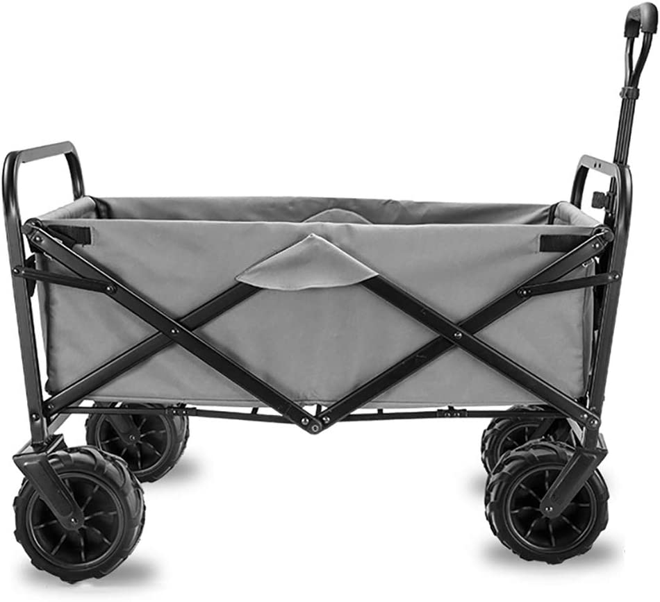 Acyon Collapsible Folding Wagon Utility Wagon Cart Garden Camping Wagon Sports Wagon Heavy Duty for Outdoor/Festivals/Camping,90 kg /198Pounds Capacity,G:Gray