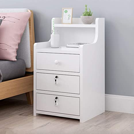 Simple End Table Bedroom Nightstand Coffee Table 3 Drawer with Lock Cabinet,Side File Cabinet Storage Table for Home Office Bedside Cabinets with Sliding Drawer and Shelf,Yellow Lanyun Nightstand